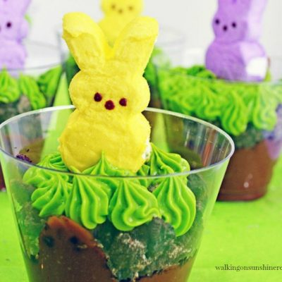 Marshmallow Peeps Pudding Cups with Oreo Cookie Crumbs from Walking on Sunshine Recipes