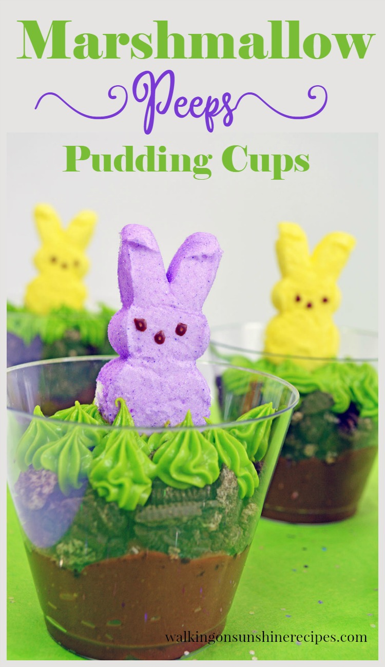 Marshmallow Bunny Peeps Pudding Cups from Walking on Sunshine Recipes Pinnable Image