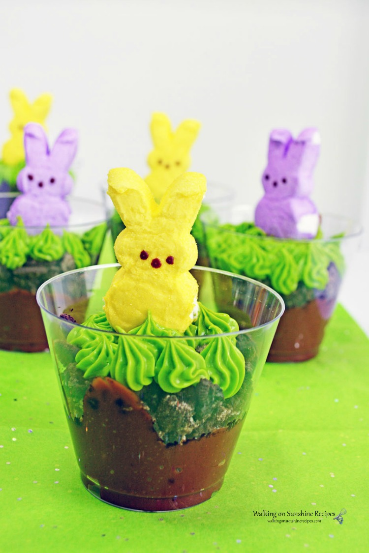 Marshmallow Pudding Peeps in plastic cups ready to be served