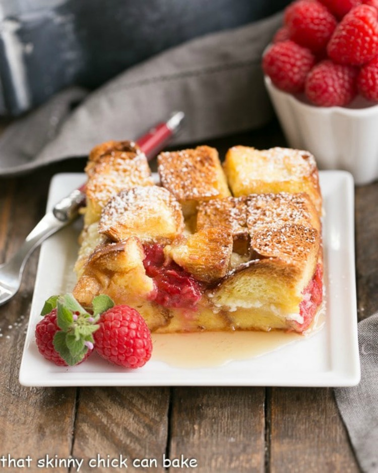 Raspberry Mascarpone French Toast Casserole frmo That Skinny Chick Can Bake