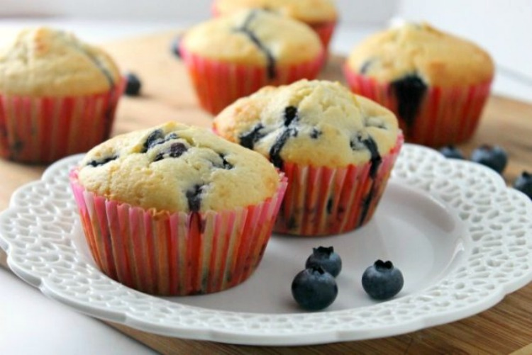 Sour Cream Blueberry Muffins from A Mom's Take