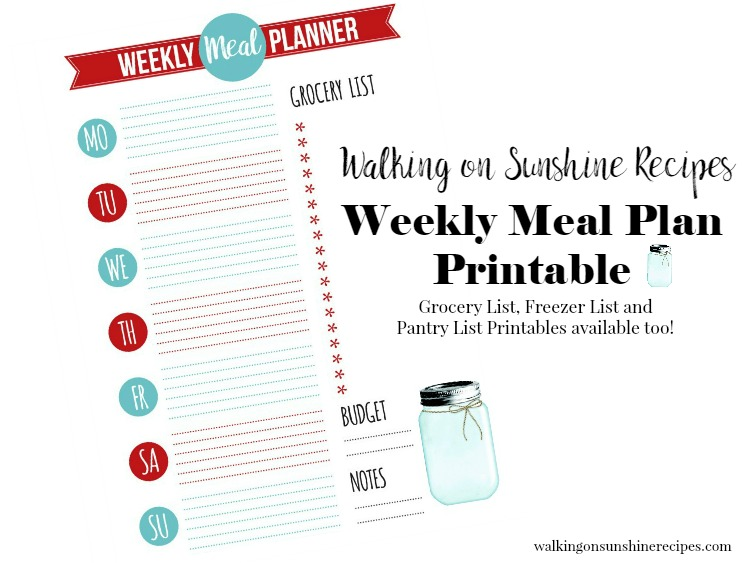 Weekly Meal Plan Printable from Walking on Sunshine Recipes