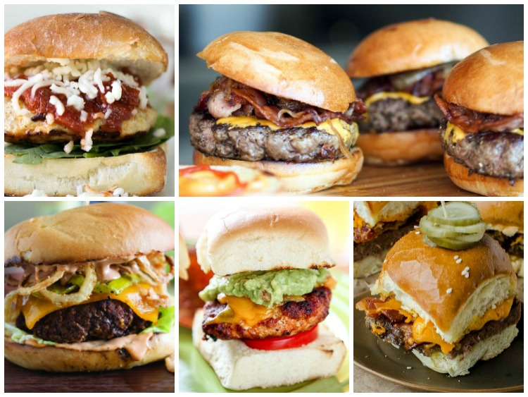 5 Delicious Burger Recipes featured on Walking on Sunshine Recipes Weekly Meal Plan