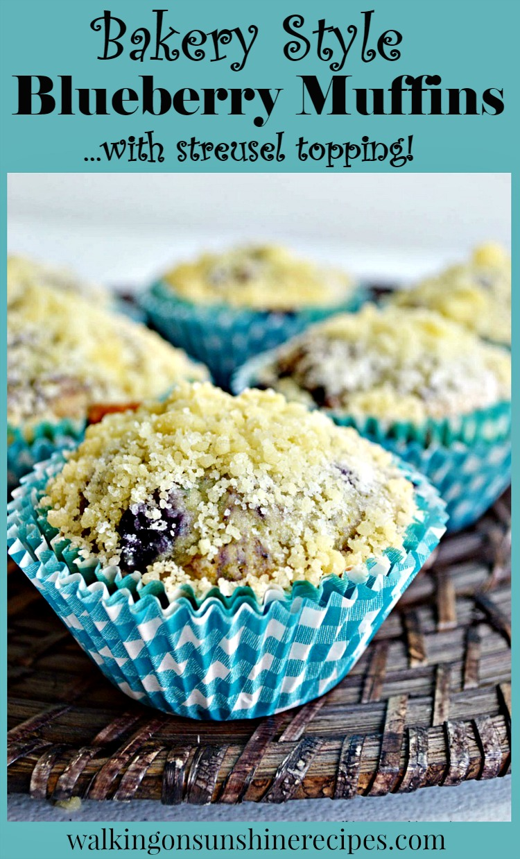 Bakery Style Blueberry Streusel Muffins cut open from Walking on Sunshine Recipes