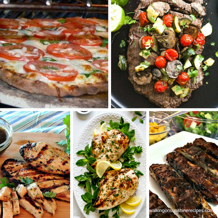 Easy Grilled Recipes - chicken, steak, ribs and pizza.