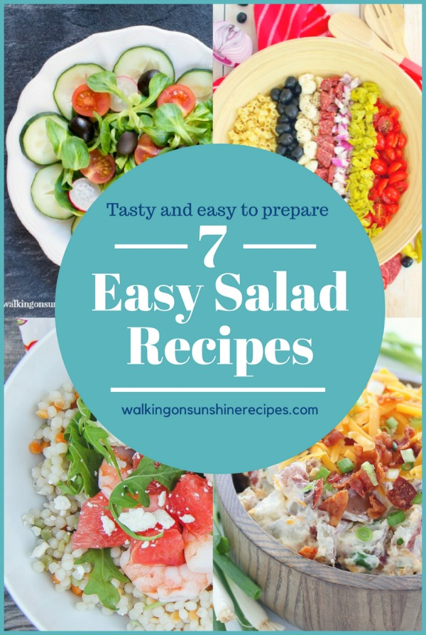 Easy Salad Recipes featured on Walking on Sunshine Recipes