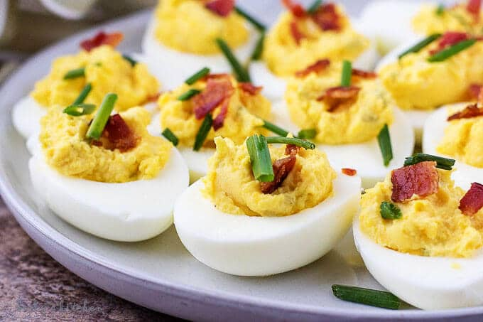 Instant Pot Deviled Eggs with Bacon from Berly's Kitchen