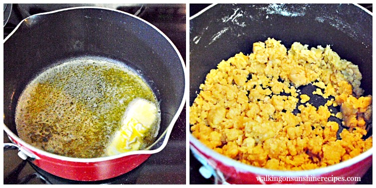 Making streussel topping for Homemade Blueberry Muffins from Walking on Sunshine Recipes