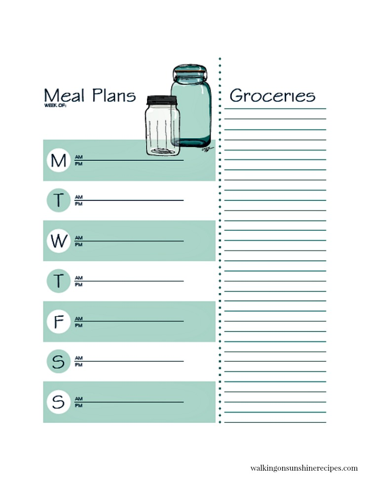 Printable Meal Planner with Grocery List from Walking on Sunshine Recipes.