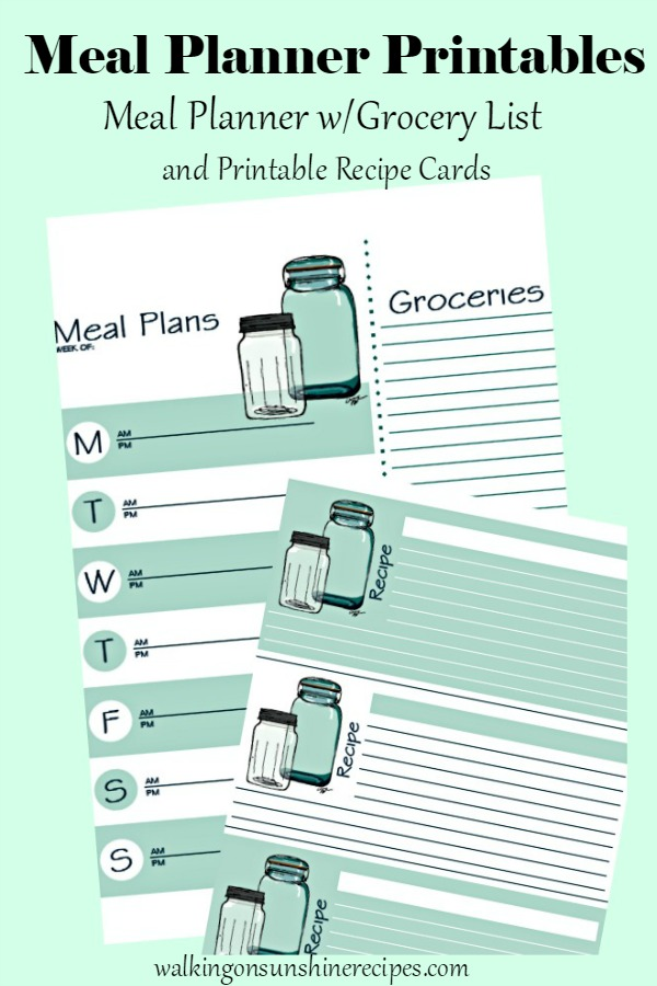 Meal Planners with Grocery List Printables from Walking on Sunshine Recipes