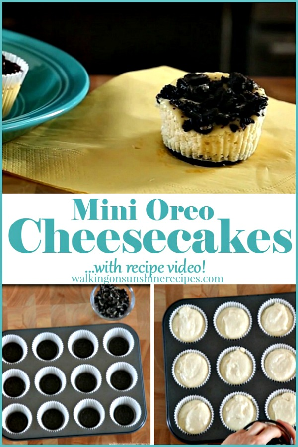 Mini Oreo Cheesecakes with Recipe Video from Walking on Sunshine Recipes
