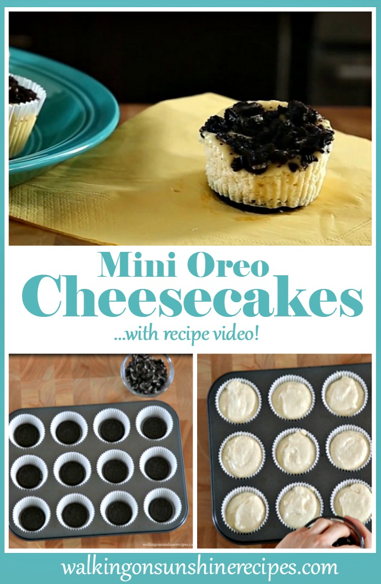 Individual Mini Oreo Cheesecakes with Recipe Video from Walking on Sunshine Recipes