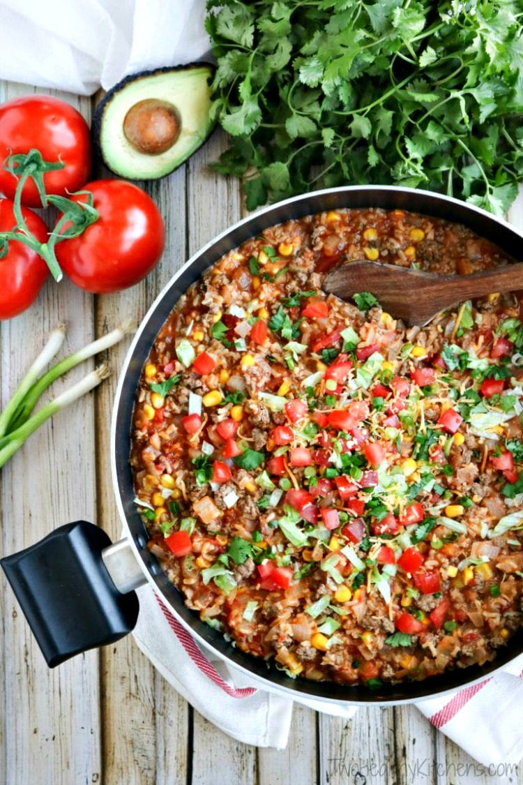 One Pot Mexican Rice Skillet Dinner from Two Healthy Kitchens