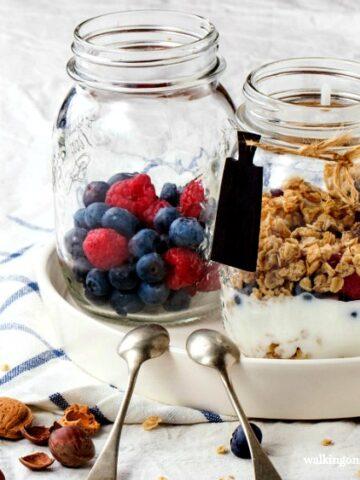 Yogurt, Fruit and Granola Breakfast Parfaits featured on Walking on Sunshine Recipes