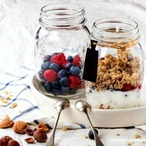 Yogurt, Fruit and Granola Breakfast Parfaits featured on Walking on Sunshine Recipes
