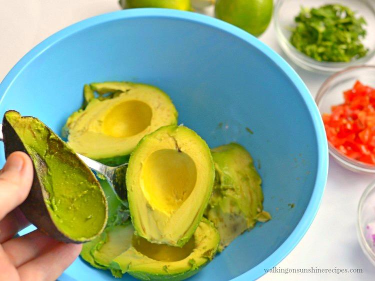 Avocados in Blue Bowl for Homemade Guacamole