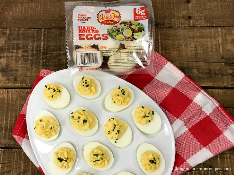 Easy Classic Deviled Eggs Recipe from Walking on Sunshine Recipes using Great Day Farm Hard-Boiled Eggs.