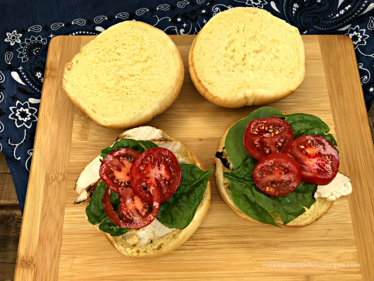 Grilled Chicken Fresh Spinach and Tomatoes on Buns