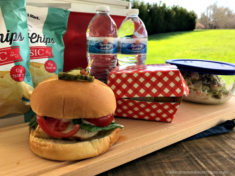 Grilled Chicken Sandwiches, chips and water bottles for picnic