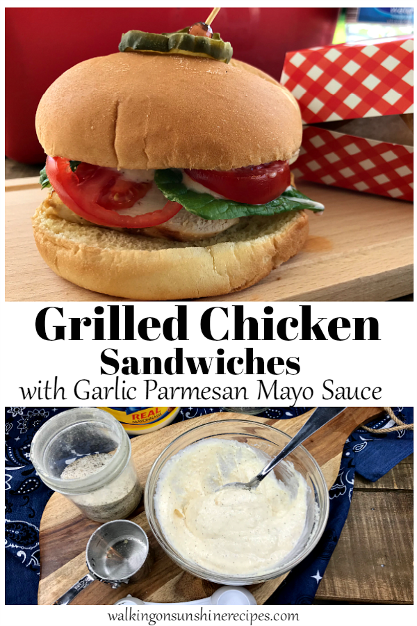 Grilled Chicken Sandwiches with a delicious and easy Homemade Garlic Parmesan Mayonnaise that takes an ordinary sandwich to amazing from Walking on Sunshine Recipes.