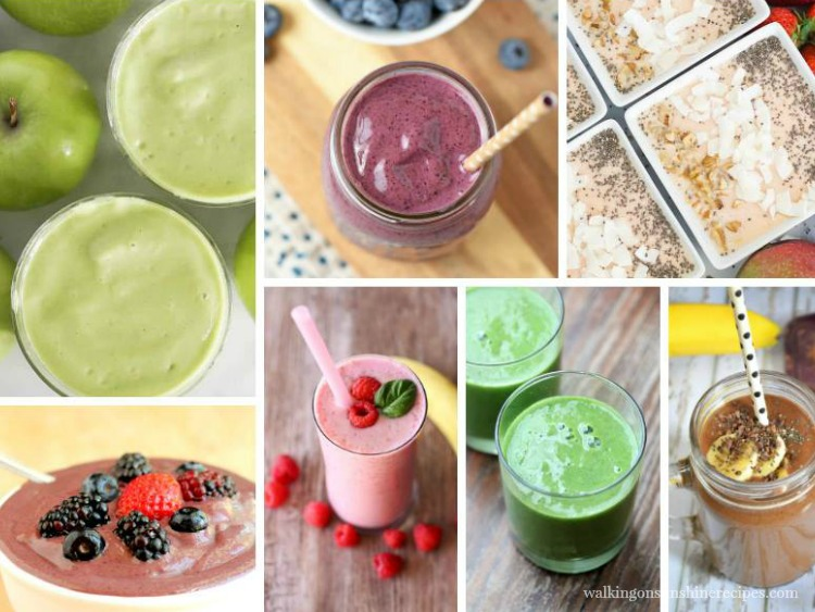 Easy and Delicious Healthy Breakfast Smoothies featured on Walking on Sunshine Recipes FEATURED photo