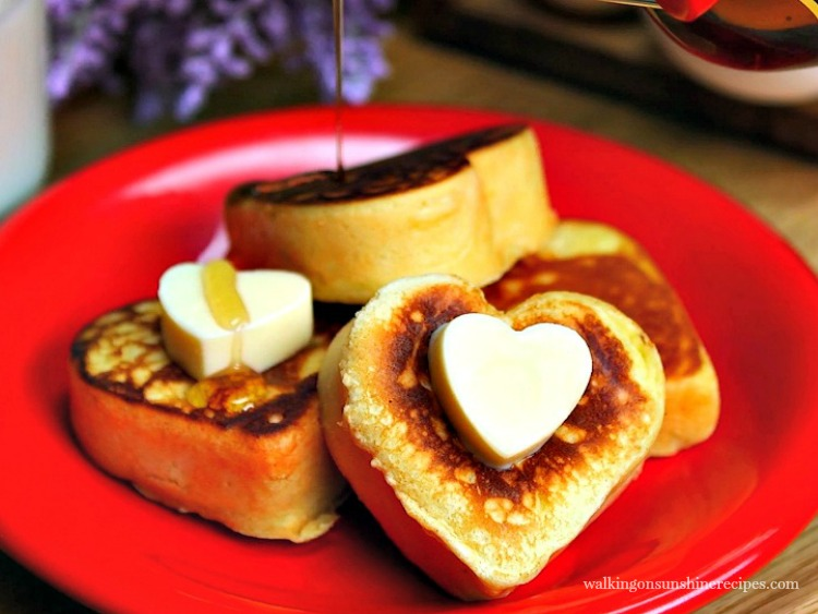 Heart Shaped Pancakes with Butter and Syrup FEATURED photo from Walking on Sunshine Recipes
