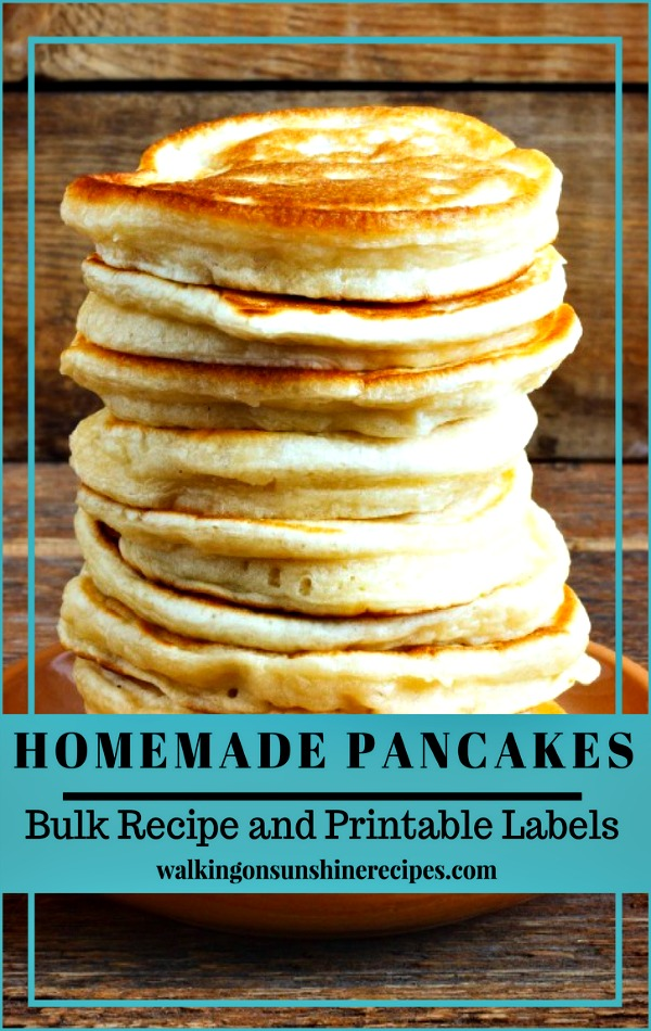 Homemade Pancakes Bulk Recipe with Printable Labels