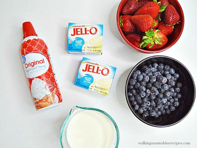 Ingredients for No Bake Cheesecake Pudding Parfaits with Fresh Berries