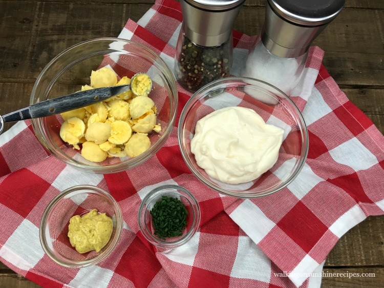 Ingredients for The Best and Easiest Deviled Eggs from Walking on Sunshine Recipes