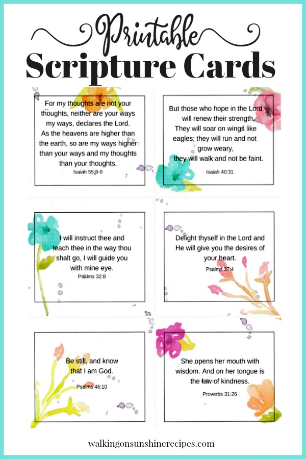 Inspirational Scripture Cards from Walking on Sunshine Recipes