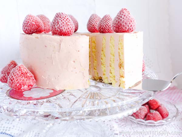 Vertical Stripe Cake with Strawberry Meringue Buttercream from Sew Historically