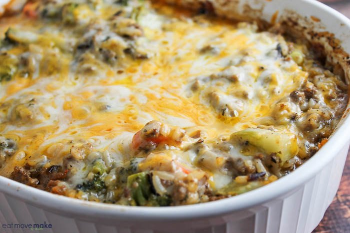 Cheesy Beef and Wild Rice Casserole from Eat Move Make