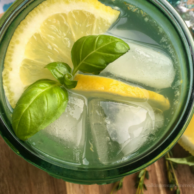 Recipe:  Lemon Basil Mint Spritzer with Fresh Ginger