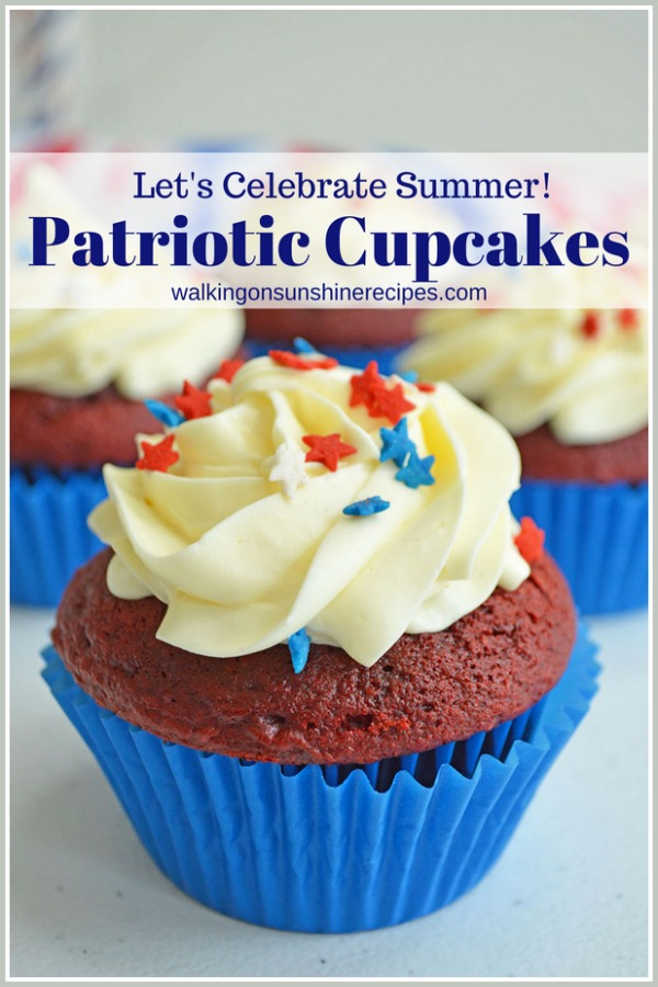 Let's Celebrate Summer with Patriotic Cupcakes in blue cupcake liners.