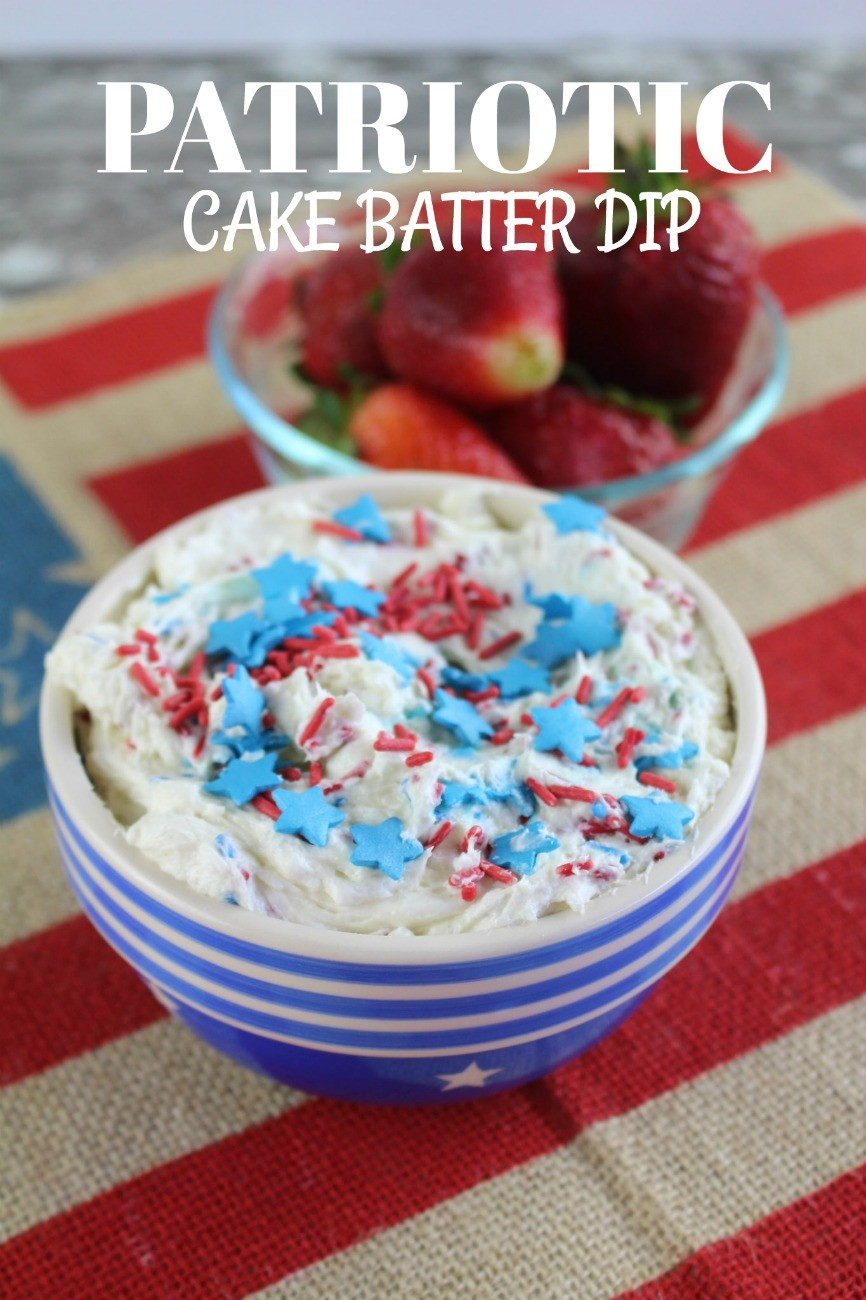 Patriotic Cake Batter Dip from This Mama Loves