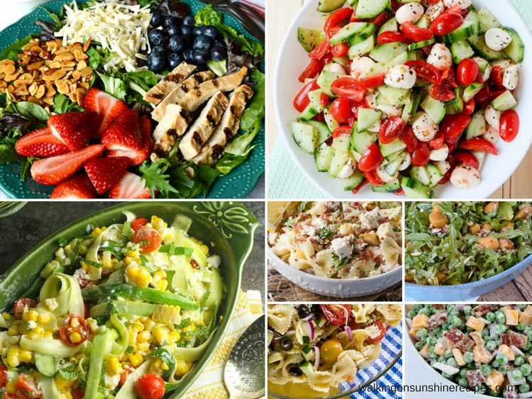 Delicious Summer Salads featured on Walking on Sunshine Recipes