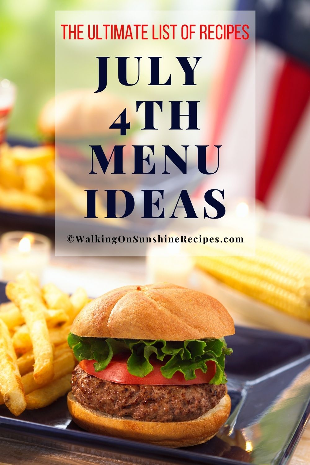 burgers, fries and American flag.