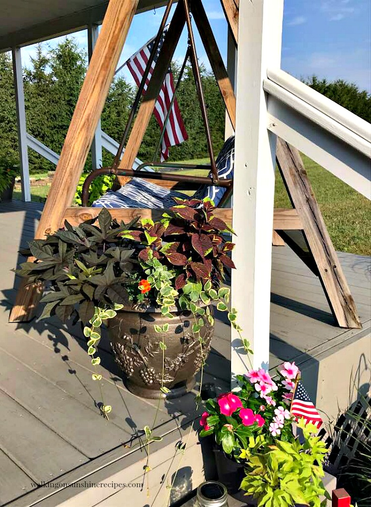 Flowers in planters and porch swing on back porch.
