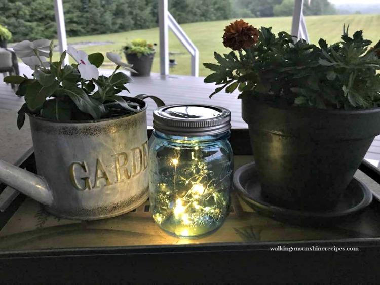 Mason Jar with Solar Fairy Lights and Flowers