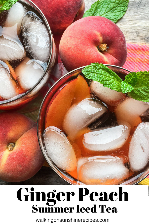 Homemade Peach Iced Tea is the perfect drink to help you beat the heat this summer from Walking on Sunshine Recipes.