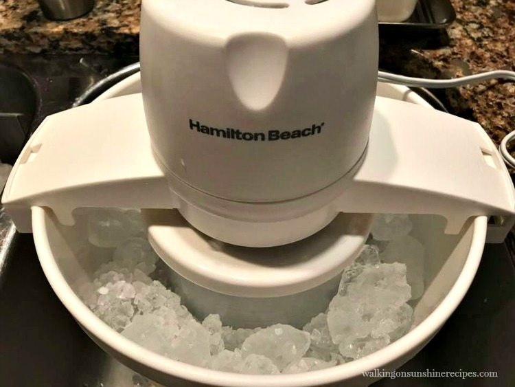 Ice Cream Maker with Ice and Rock Salt from Walking on Sunshine Recipes