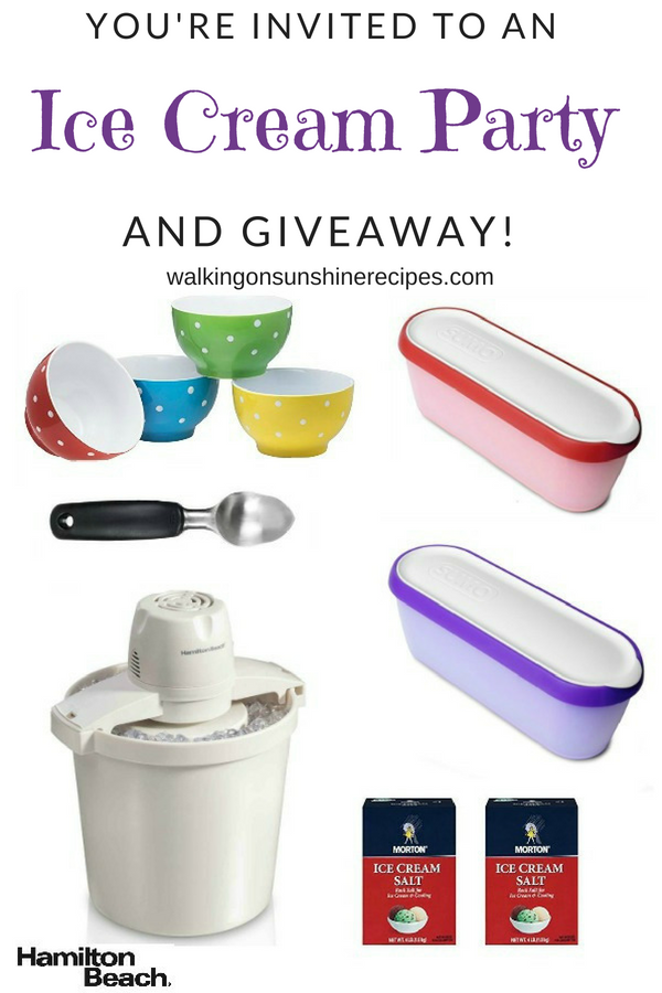 Ice Cream Party and Giveaway from Walking on Sunshine Recipes