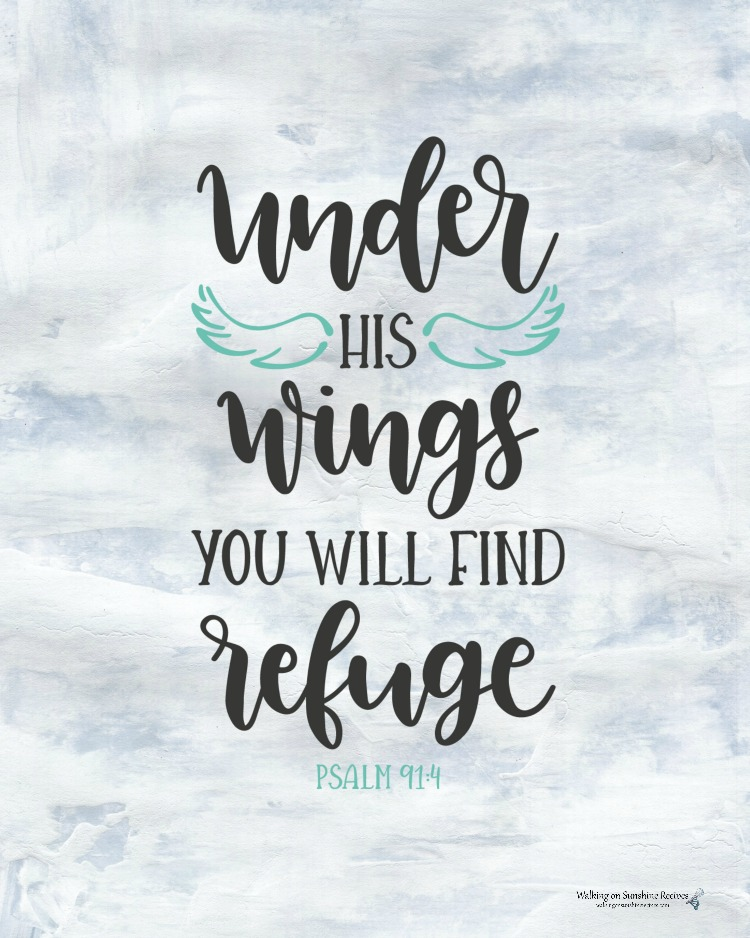 Under his wings you will find refuge Psalms 91:4 printable