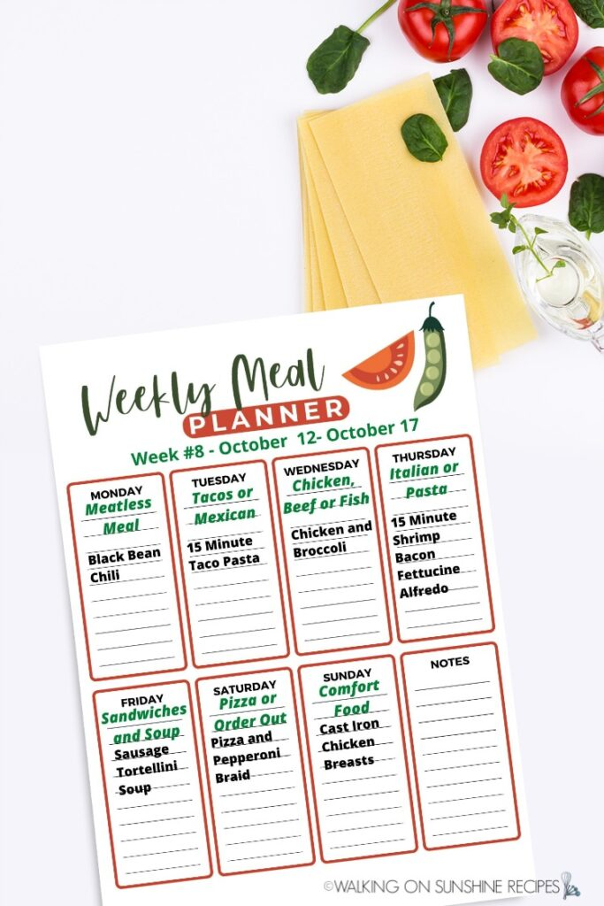 Printable weekly meal plan with 7 dinner recipes.