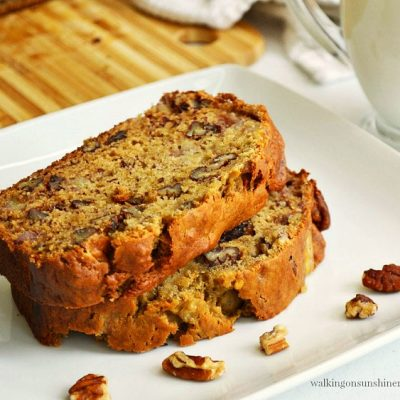 Banana Nut Bread with Maple Syrup and Pecans