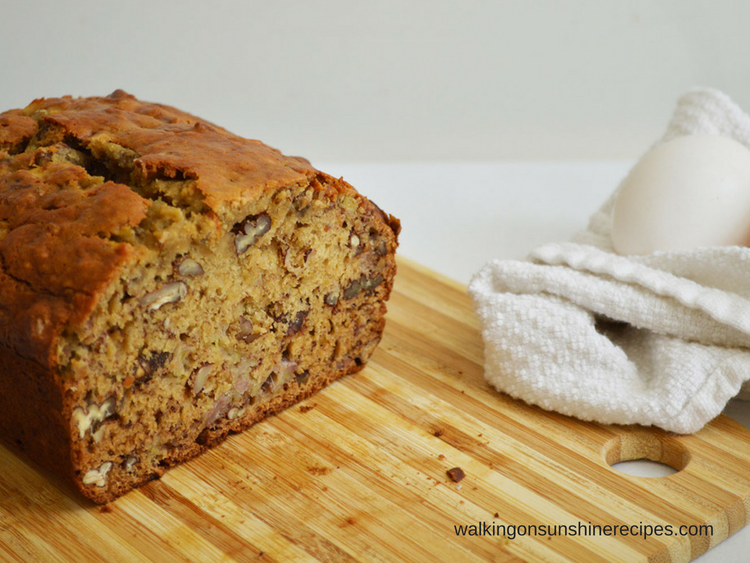 Banana Nut Bread on cutting board