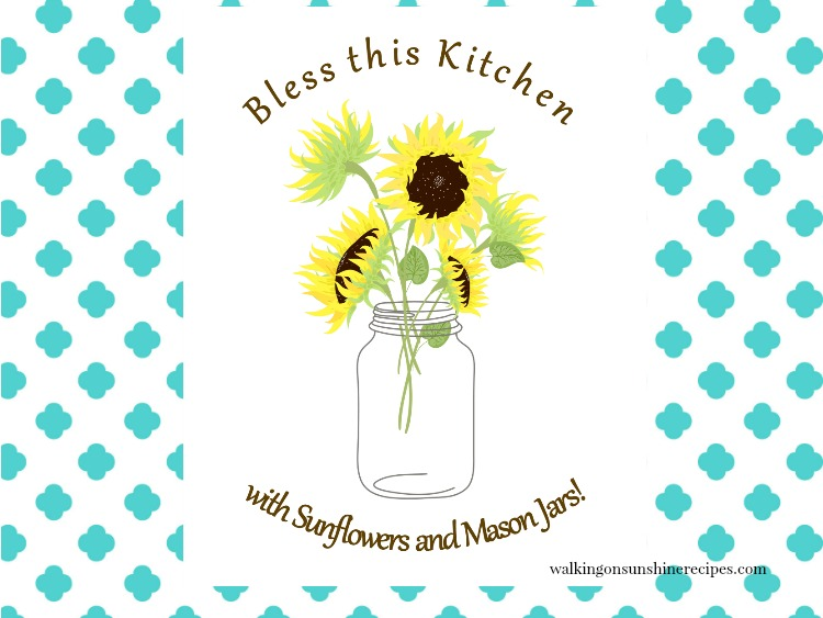 mason jar printable with sunflowers.