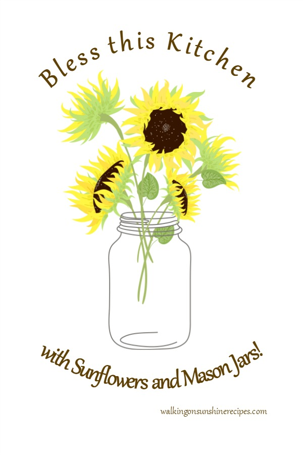 Mason Jar Printable with Sunflowers