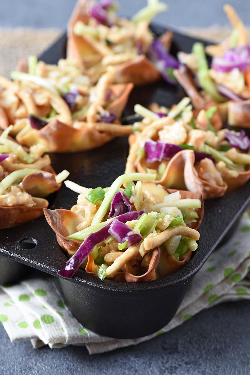 Asian Chicken Salad Wonton Cups from Adventures of Mel
