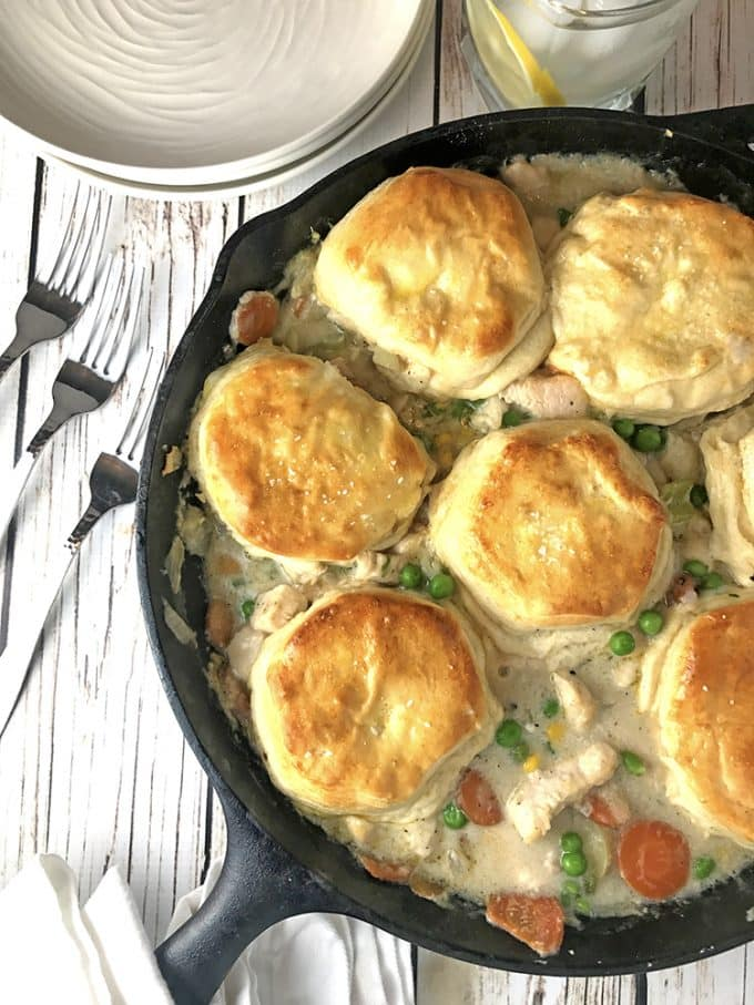 Chicken Skillet Biscuit Pot Pie from Platter Talk